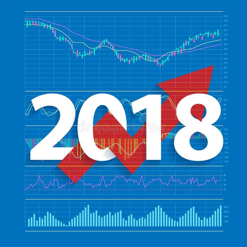 analyse het jaar van de van bedrijfs 2018 de nieuwe succes creatieve voorraad stock illustratie