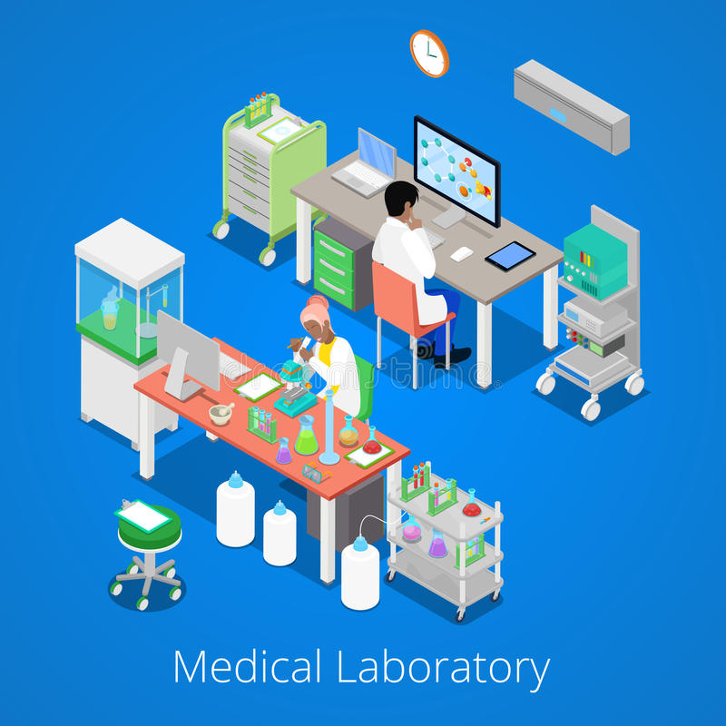 Analyse isométrique de laboratoire avec la recherche de personnel médical et de produit chimique illustration de vecteur