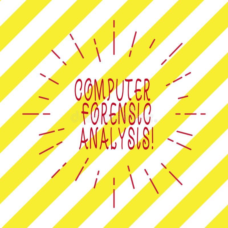 Analyse légale d'ordinateur d'écriture des textes d'écriture Concept signifiant des preuves trouvées dans les ordinateurs et les  illustration stock