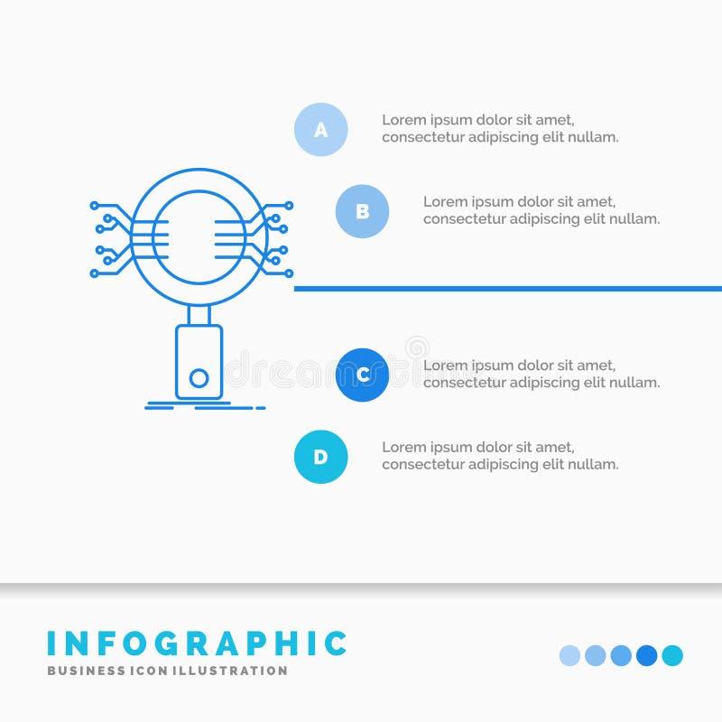 Analyse, recherche, information, recherche, calibre d'Infographics de sécurité pour le site Web et présentation Ligne ic?ne bleue illustration libre de droits