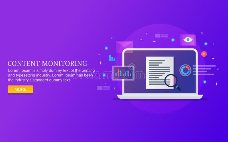 Analyse satisfaite de taux d'engagement, contrôle des performances satisfait, données du contenu numérique, l'information, concep illustration libre de droits
