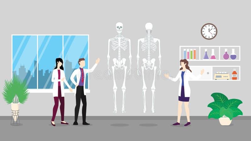 Analyse squelettique humaine de contrôle de soins de santé de structure d'anatomie identifiant par des personnes de docteur sur illustration stock