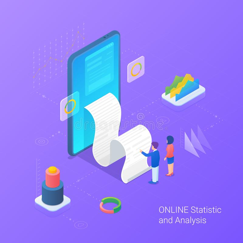 Analyse statistics data online services Isometric Flat vector illustration. Man and Woman looking on Bill from Mobile phone vector illustration