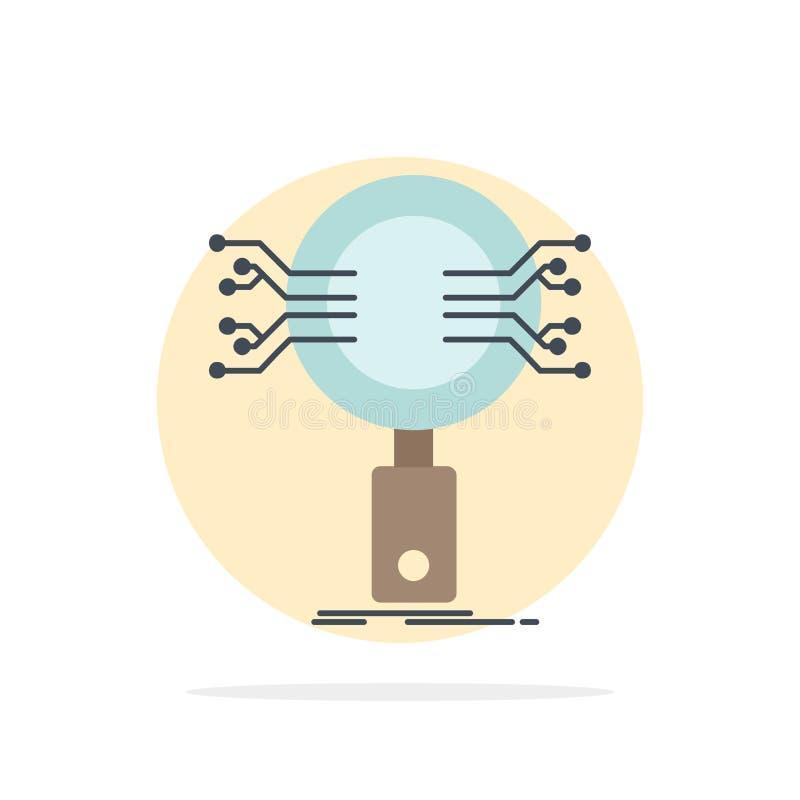 Analyse, Suche, Informationen, Forschung, Sicherheits-flacher Farbikonen-Vektor stock abbildung