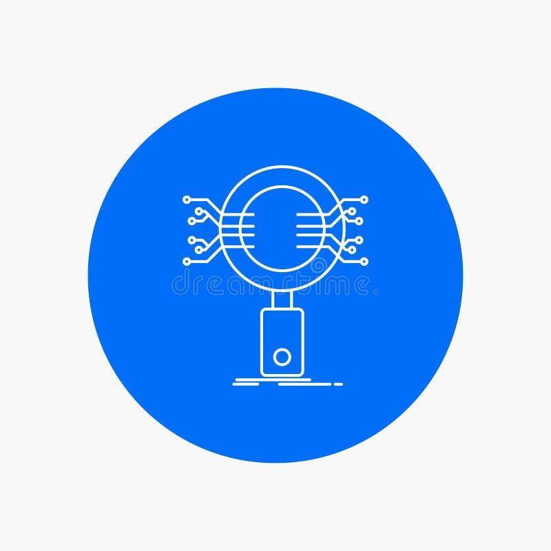 Analyse, Suche, Informationen, Forschung, Sicherheits-weiße Linie Ikone im Kreishintergrund Vektorikonenillustration lizenzfreie abbildung