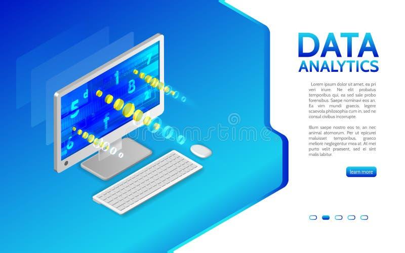 Analyse van informatie over computer Controle en statistieken D royalty-vrije illustratie