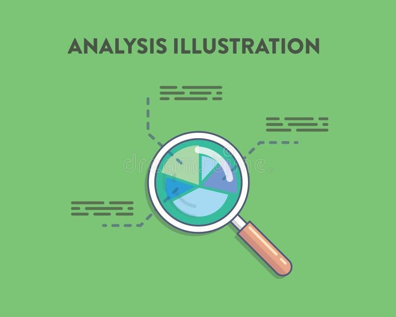 Analyse vectorillustratie van vergrootglas royalty-vrije illustratie