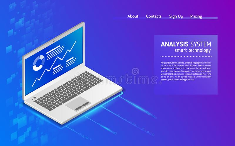 Analyse von Informationen über Laptop lizenzfreie abbildung
