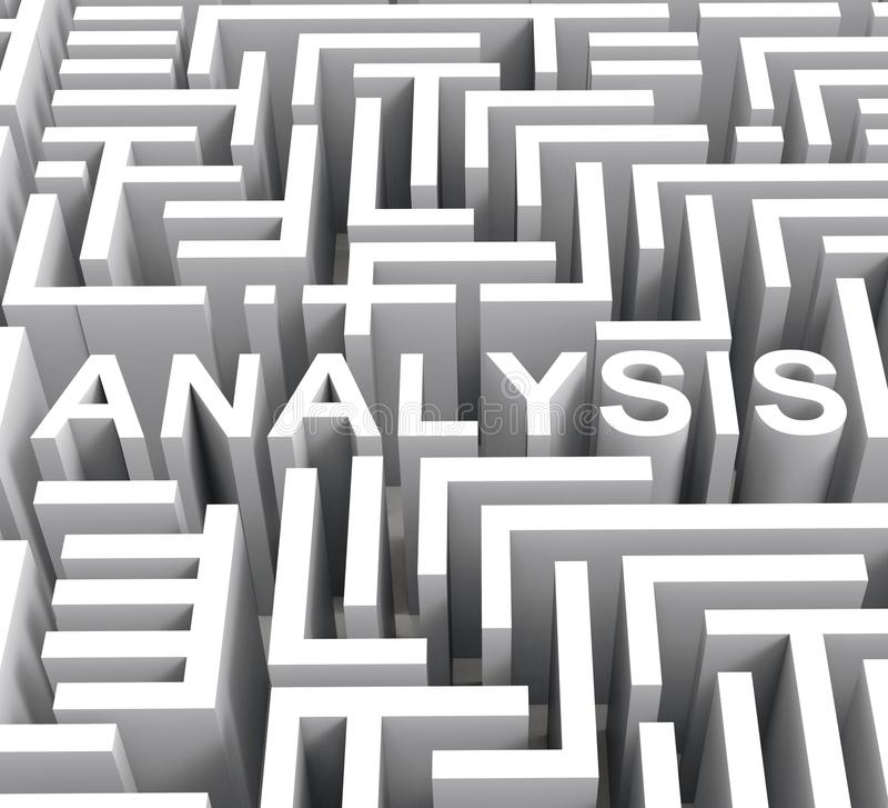 Analyse-Wort zeigt Untersuchung oder Forschung lizenzfreie abbildung