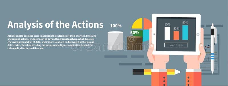 Analyseacties Concept zakenman het gebruiken vector illustratie