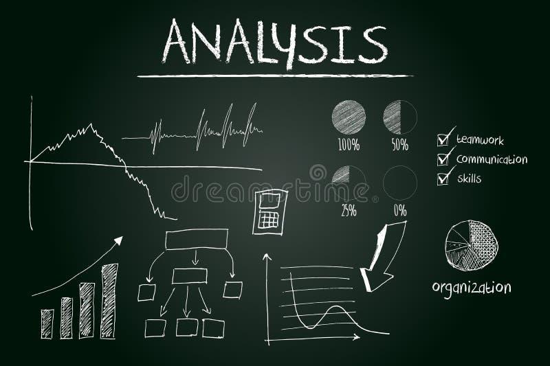 Analyseconcept op bord wordt geschetst dat vector illustratie