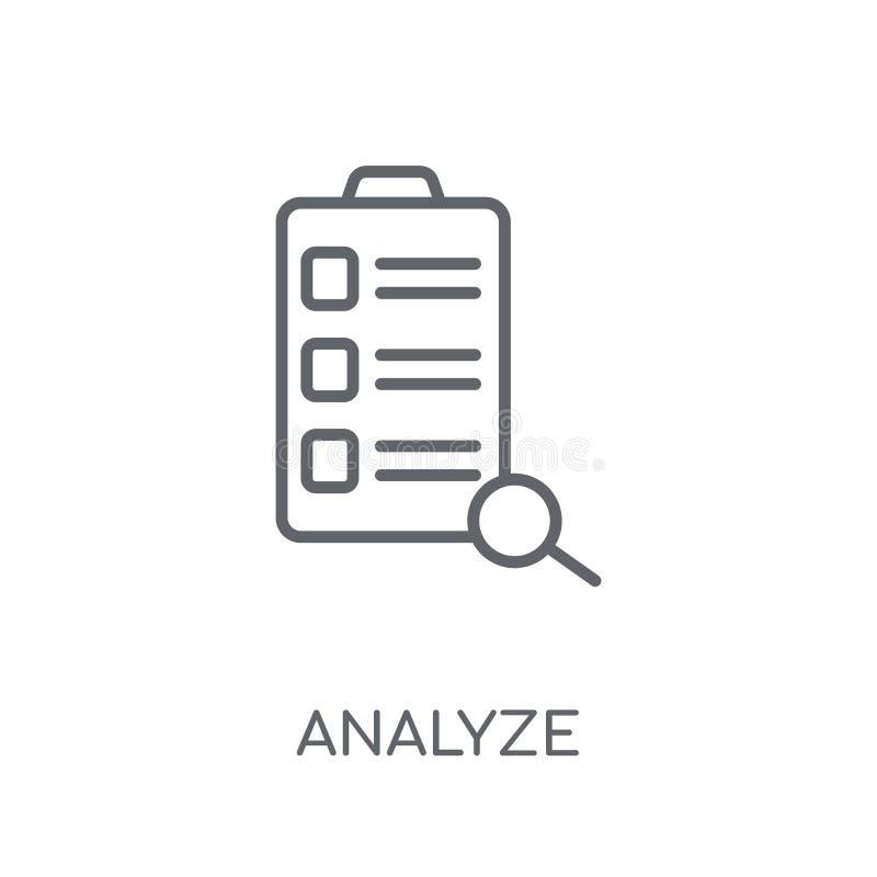 Analyseer lineair pictogram Het moderne overzicht analyseert embleemconcept op whit vector illustratie