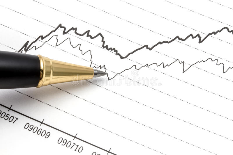 Analyser le marché boursier images stock