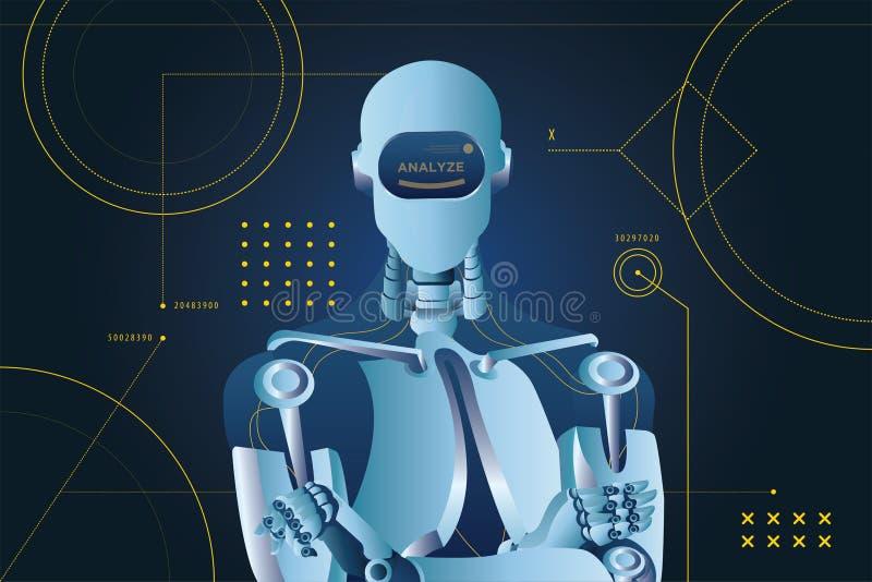 Analysez l'illustration futuriste de vecteur de style de fond de robot illustration de vecteur