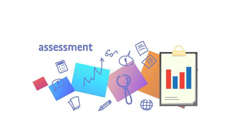 Analysez les données pour rapporter et consulter le croquis de concept de représentation d'évaluation d'évaluation gribouillez ho illustration libre de droits