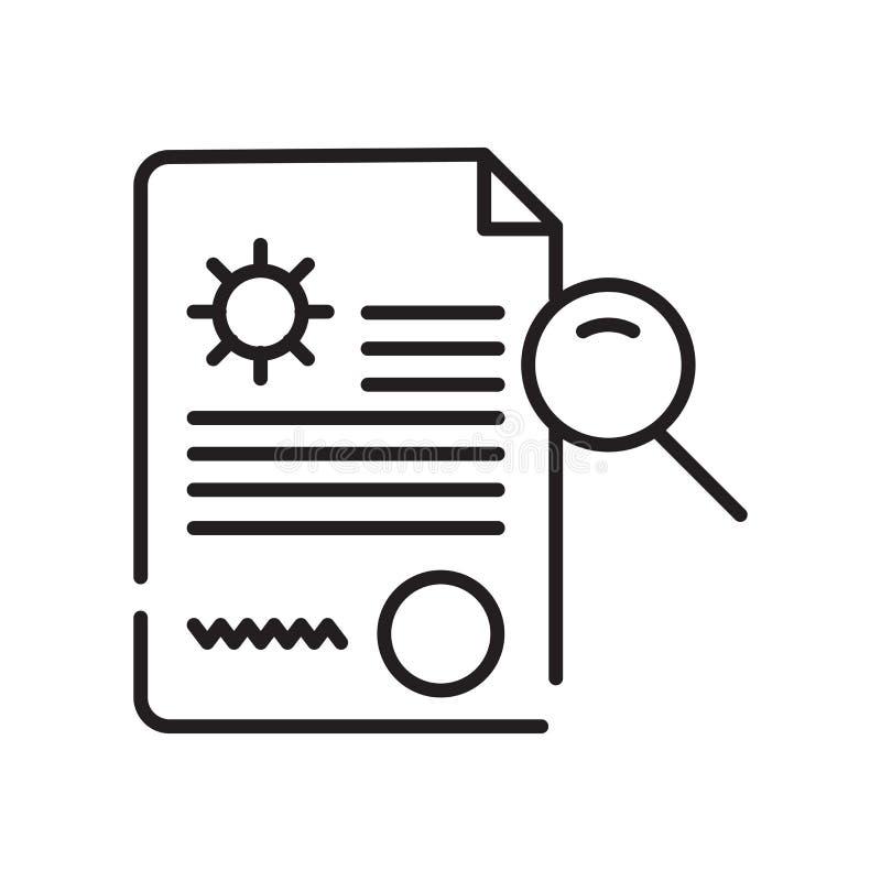 Analysieren Sie den Ikonenvektor, der auf weißem Hintergrund lokalisiert wird, analysieren Sie Zeichen, Zeichen und Symbole in de stock abbildung