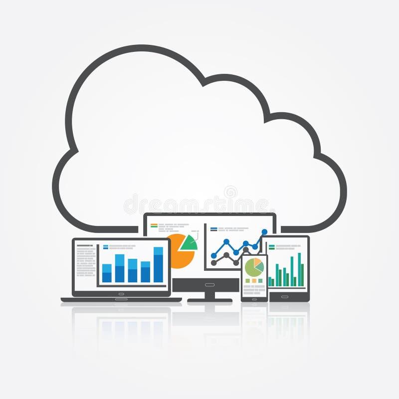 Analysieren von großen Daten mit Wolken-Technologie vektor abbildung