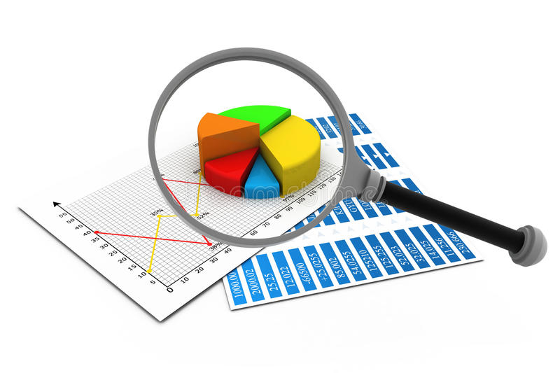 Analysing business report,. Magnify glass and graph charts stock illustration