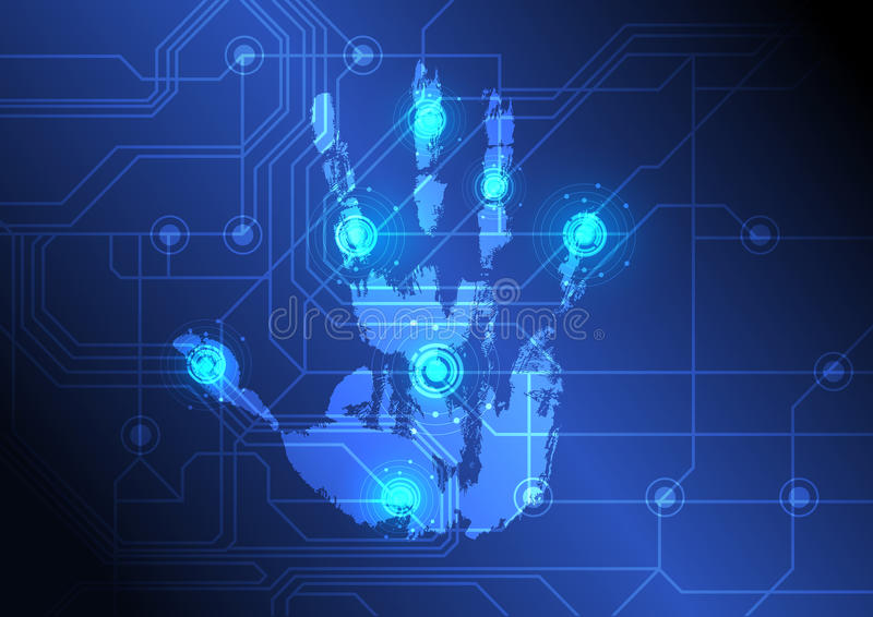 Analysing hand with scanner. Illustration analysing hand with scanner royalty free illustration