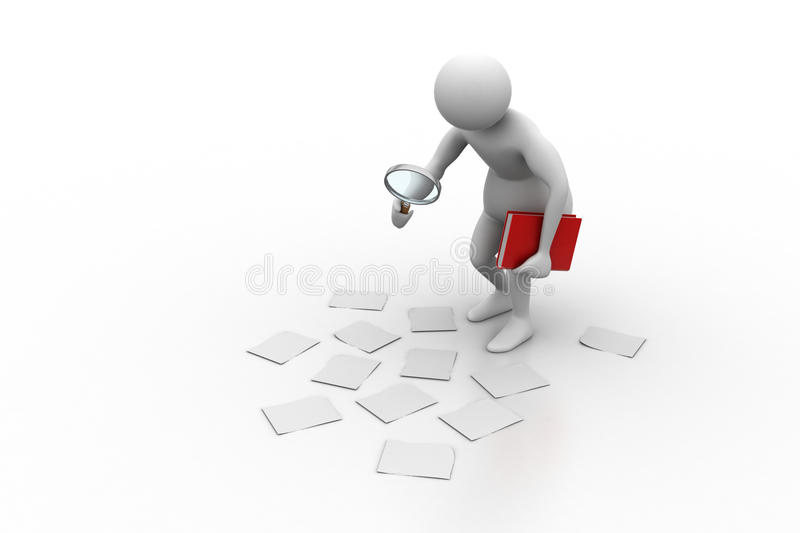 analysingc de l'homme 3d illustration stock