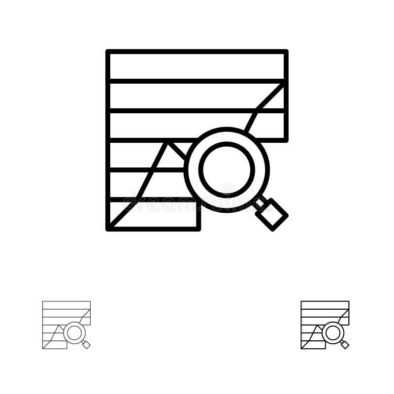 Analysis, Analytic, Analytics, Chart, Data, Graph Bold and thin black line icon set stock illustration