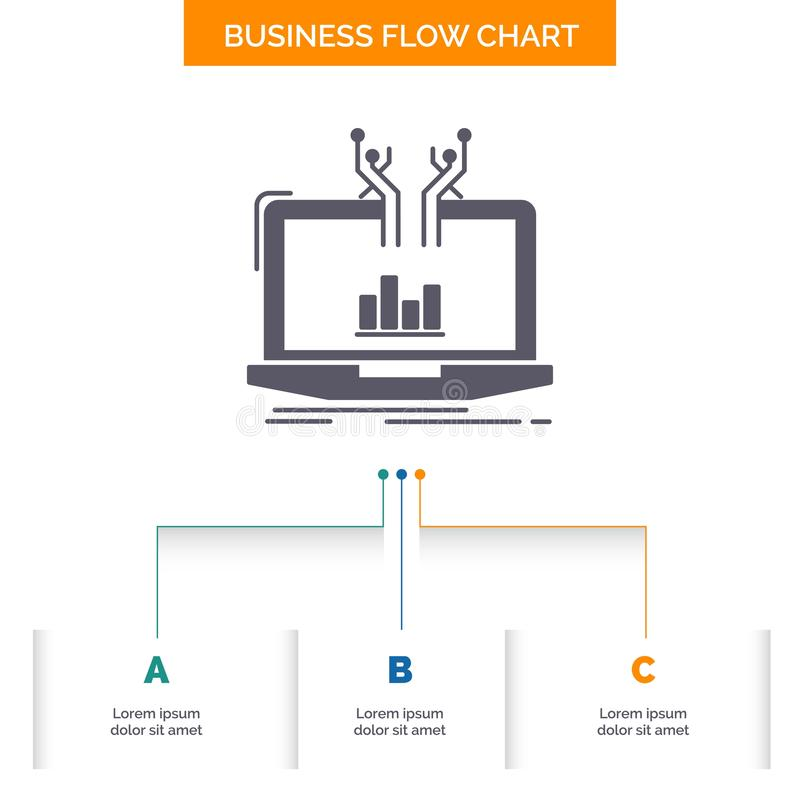 Analysis, analytical, management, online, platform Business Flow Chart Design with 3 Steps. Glyph Icon For Presentation Background stock illustration