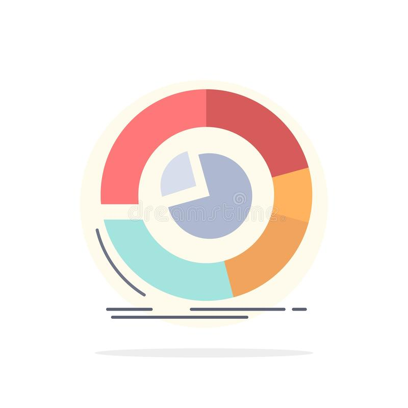 Analysis, analytics, business, diagram, pie chart Flat Color Icon Vector royalty free illustration