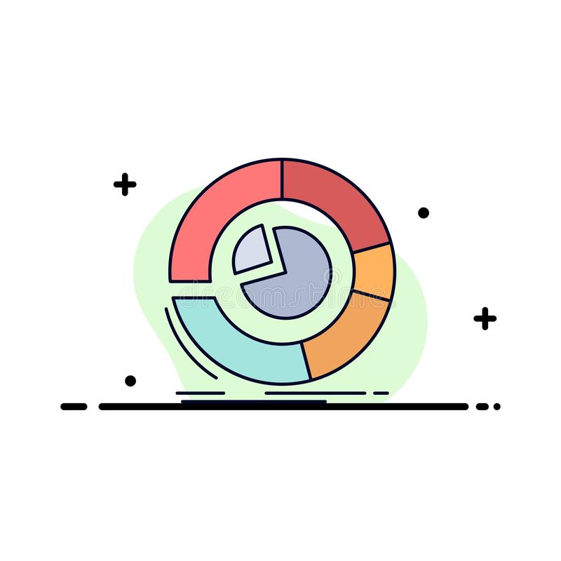 Analysis, analytics, business, diagram, pie chart Flat Color Icon Vector stock illustration