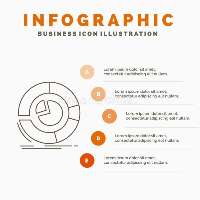 Analysis, analytics, business, diagram, pie chart Infographics Template for Website and Presentation. Line Gray icon with Orange vector illustration