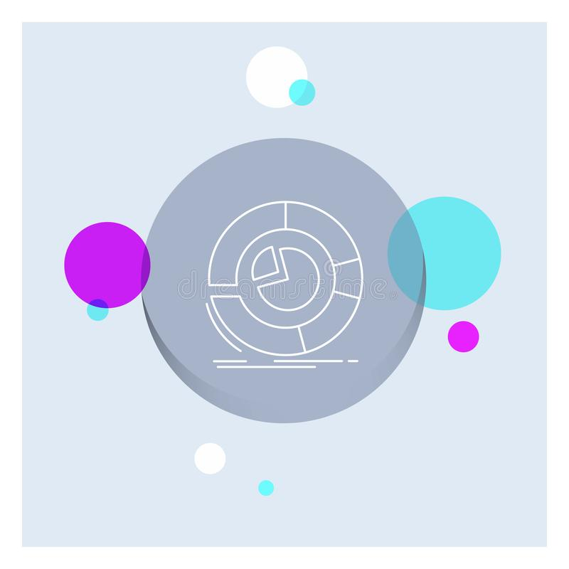Analysis, analytics, business, diagram, pie chart White Line Icon colorful Circle Background royalty free illustration