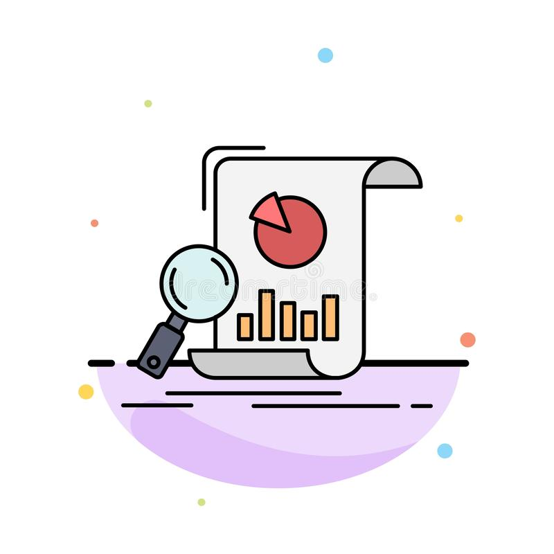 Analysis, analytics, business, financial, research Flat Color Icon Vector stock illustration