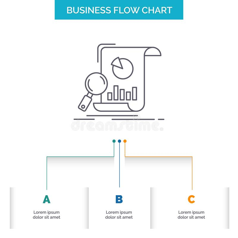 Analysis, analytics, business, financial, research Business Flow Chart Design with 3 Steps. Line Icon For Presentation Background stock illustration