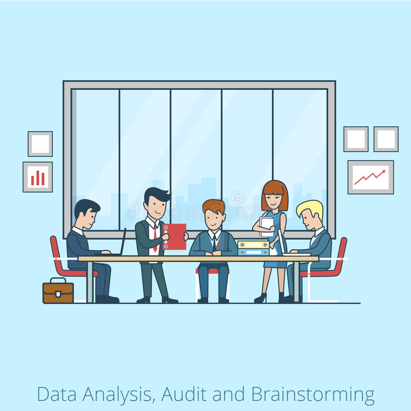 Analysis Audit brainstorming Business people Linea vector illustration
