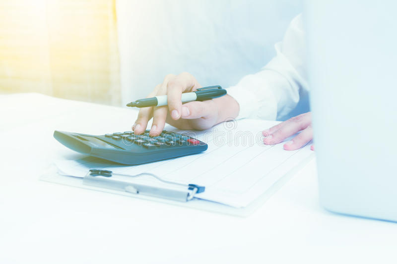 Analysis business accounting,business finance concept and business content,Officer working on process business at office. stock photography