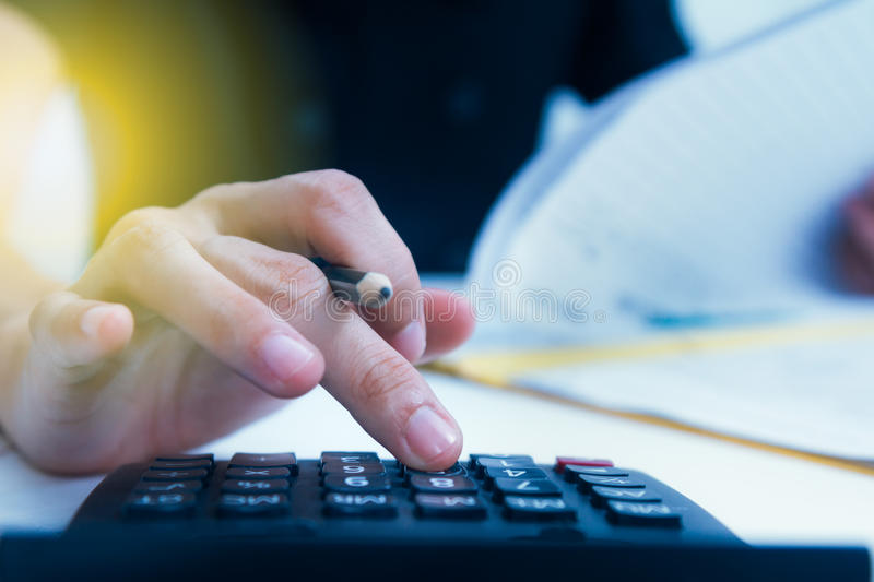 Analysis business accounting,business finance concept and business content,Officer working on process business at office. stock photos