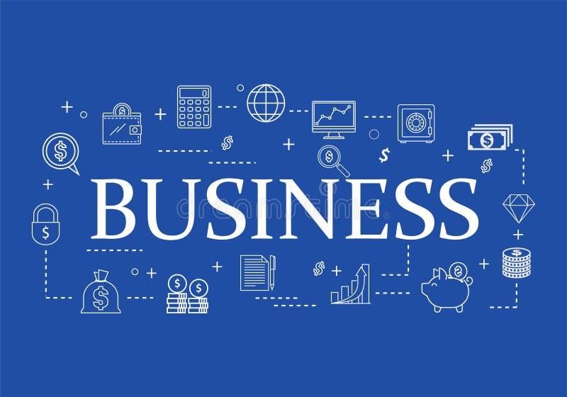 Analysis of business flat line icon set stock illustration