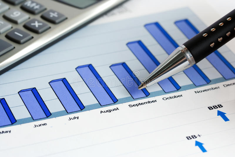 financial graphs and charts accounting stock photo