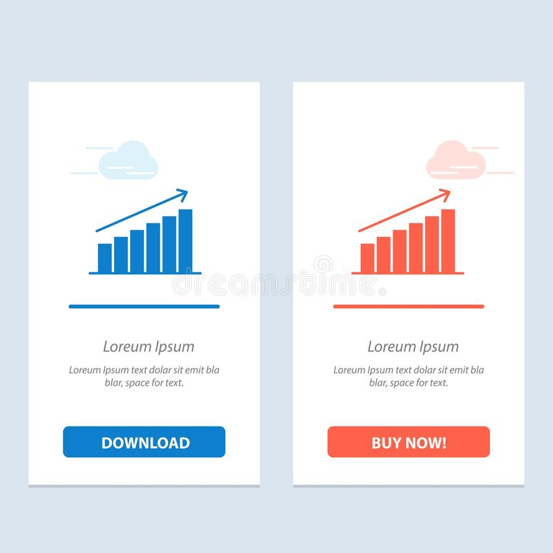 Analysis, Chart, Analytics, Business, Graph, Market, Statistics  Blue and Red Download and Buy Now web Widget Card Template stock illustration