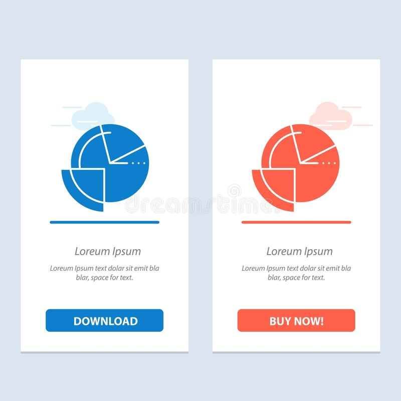 Analysis, Chart, Data, Diagram, Monitoring  Blue and Red Download and Buy Now web Widget Card Template vector illustration