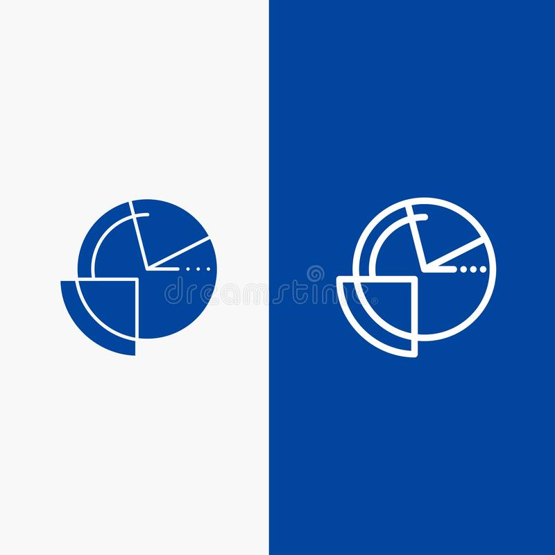 Analysis, Chart, Data, Diagram, Monitoring Line and Glyph Solid icon Blue banner Line and Glyph Solid icon Blue banner stock illustration