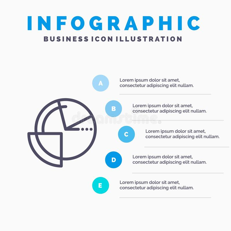 Analysis, Chart, Data, Diagram, Monitoring Line icon with 5 steps presentation infographics Background stock illustration
