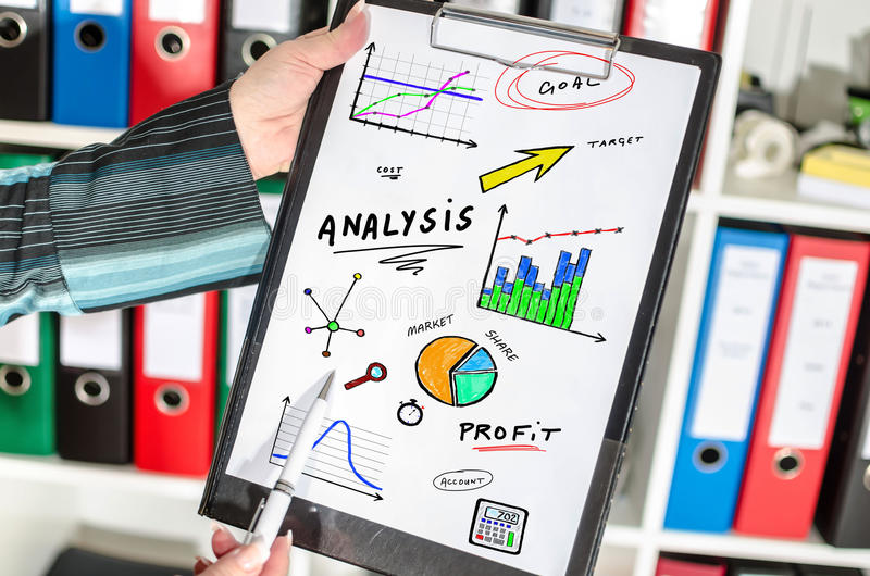 Analysis concept on a clipboard royalty free stock images