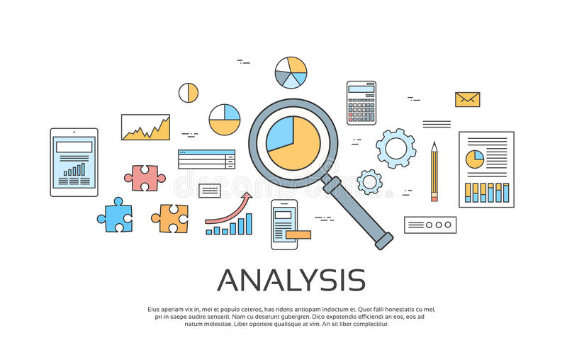 Analysis Concept Finance Diagram Infographic Magnifying Glass Set Thin Line Collection. Vector Illustration royalty free illustration