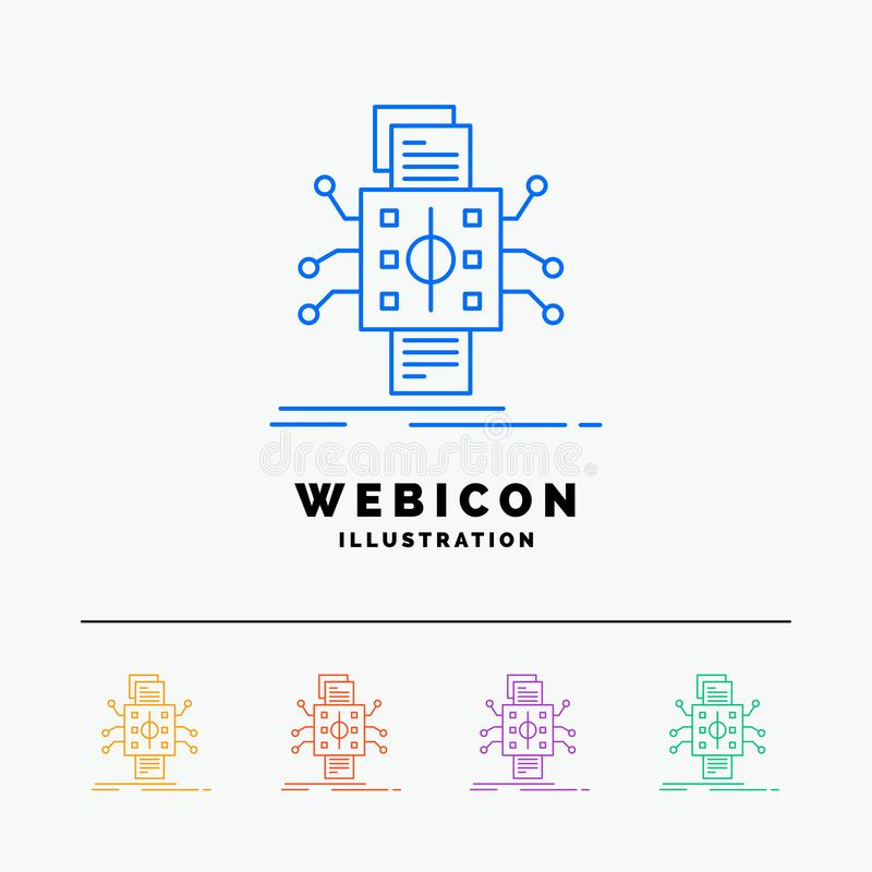 Analysis, data, datum, processing, reporting 5 Color Line Web Icon Template isolated on white. Vector illustration vector illustration