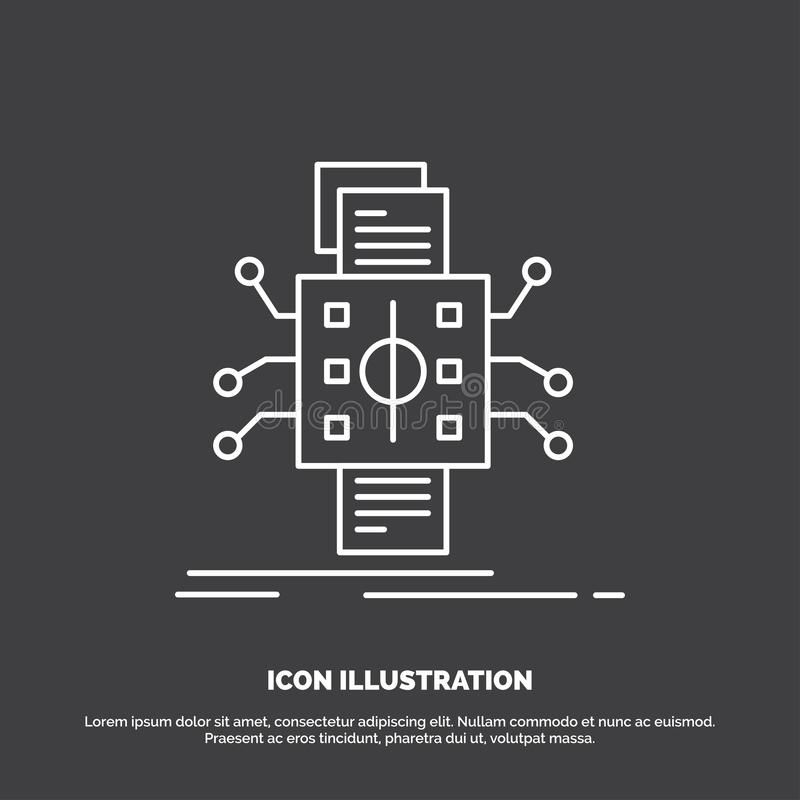Analysis, data, datum, processing, reporting Icon. Line vector symbol for UI and UX, website or mobile application royalty free illustration