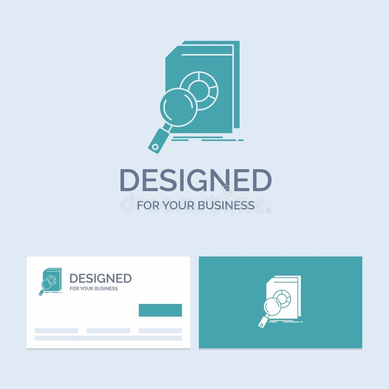 Analysis, data, financial, market, research Business Logo Glyph Icon Symbol for your business. Turquoise Business Cards with Brand. Logo template.. Vector EPS10 royalty free illustration