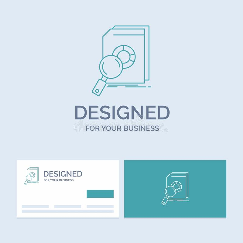 Analysis, data, financial, market, research Business Logo Line Icon Symbol for your business. Turquoise Business Cards with Brand royalty free illustration