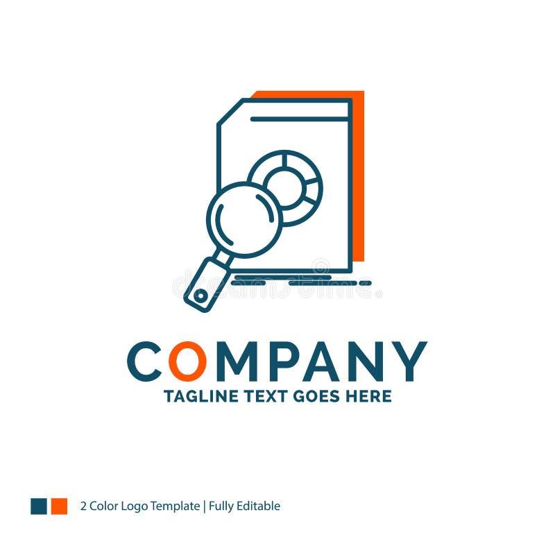 Analysis, data, financial, market, research Logo Design. Blue an. D Orange Brand Name Design. Place for Tagline. Business Logo template royalty free illustration
