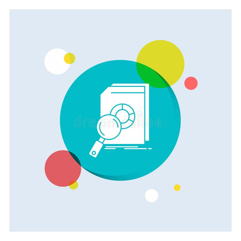 Analysis, data, financial, market, research White Glyph Icon colorful Circle Background stock illustration