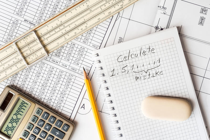 Analysis of the design work, the error in the calculations royalty free stock image